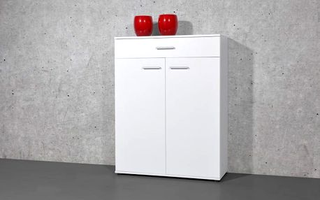 Easy - Botník, 2x dveře, 1x zásuvka (bílá)