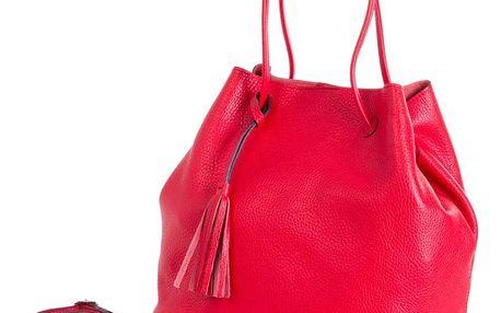 Červená kabelka z pravé kůže Andrea Cardone Red Jenny - doprava zdarma!