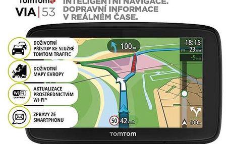 Navigační systém GPS Tomtom VIA 53 Europe LIFETIME mapy (1AL5.002.00) černá + Doprava zdarma