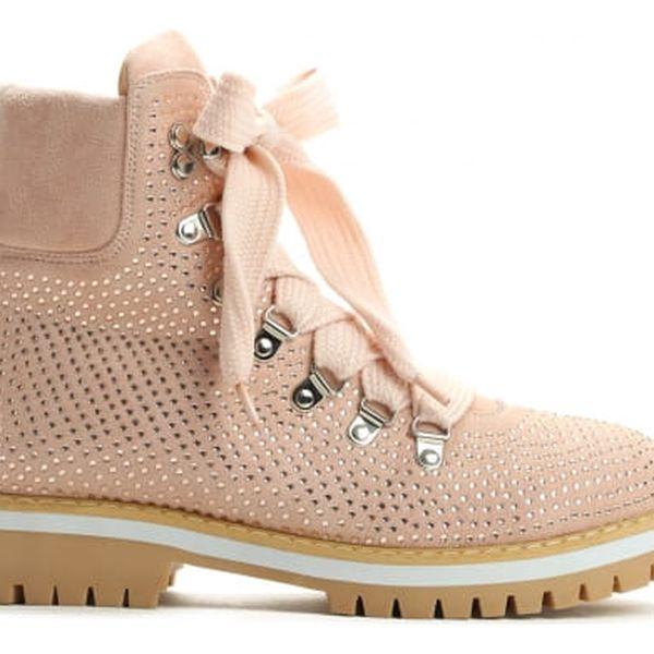 Dámské růžové kotníkové boty Cariba 9094