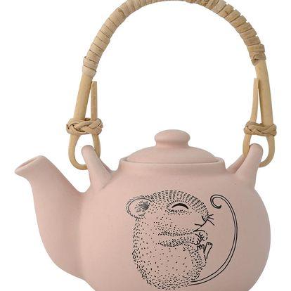 Bloomingville Mini keramická konvička pro panenky Mouse, růžová barva, keramika