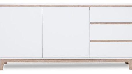 Bílá dvoudveřová komoda se 3 zásuvkami a detaily v dubovém dekoru Intertrade Apart - doprava zdarma!