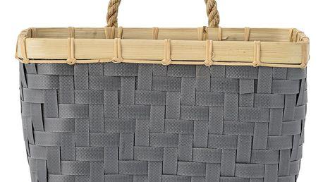 Bloomingville Nástěnný košík Grey/nature, šedá barva, dřevo, plast