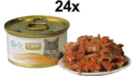 Konzerva Brit Care Cat tuňák, mrkev & hrášek 24 x 80g