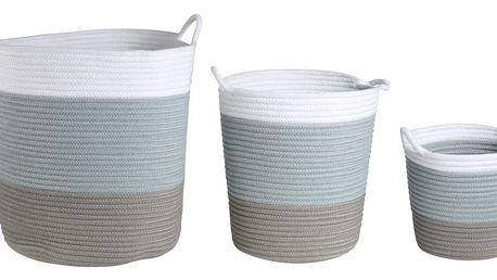 CÔTÉ TABLE Úložný koš Tissage Velikost M, modrá barva, zelená barva, bílá barva, textil