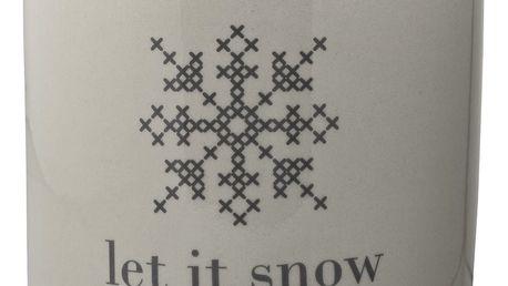 Bloomingville Keramická dóza na cukroví Let It Snow, šedá barva, keramika