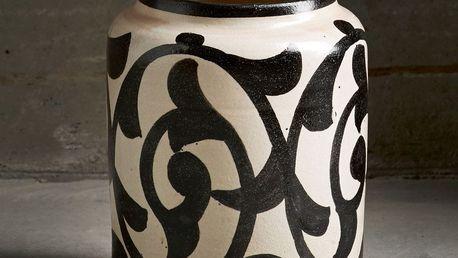 Tine K Home Keramická váza Marocco Black, černá barva, krémová barva, keramika