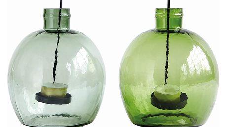 House Doctor Skleněná lucerna Tea Světle zelená, zelená barva, čirá barva, sklo