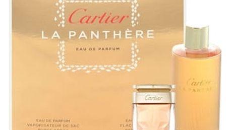 Cartier La Panthere dárková kazeta pro ženy parfémovaná voda 25 ml naplnitelný flakon + parfémovaná voda 75 ml náplň