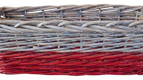 GREEN GATE Proutěný košík s jutovými uchy - hranatý, červená barva, béžová barva, proutí