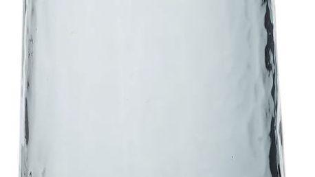 Hübsch Skleněná váza Brass, modrá barva, zlatá barva, sklo, kov