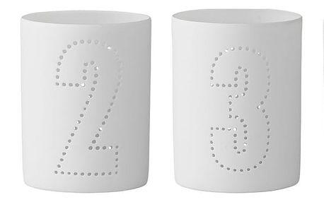 Bloomingville Adventní svícen Numbers Číslo 3, bílá barva, porcelán