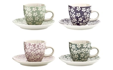Bloomingville Keramický šálek s podšálkem Seeke Zelený, růžová barva, fialová barva, zelená barva, šedá barva, keramika