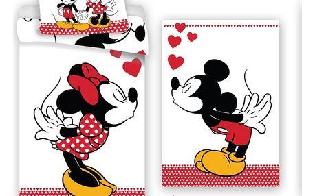 Jerry Fabrics Bavlněné povlečení Mickey and Minne in Love, 140 x 200 cm, 70 x 90 cm