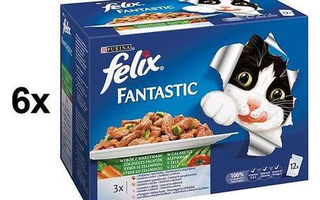 Kapsička Felix Fantastic výběr se zeleninou 6 x (12 x 100g)