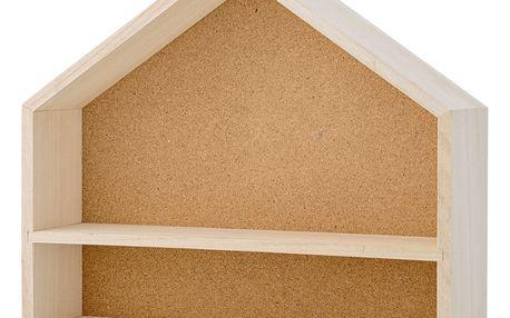 Bloomingville Nástěnná polička s nástěnkou House Cork, béžová barva, dřevo