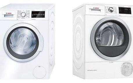 Set (Sušička prádla Bosch WTW876WBY) + (Automatická pračka Bosch WAT24460BY) + DOPRAVA ZDARMA