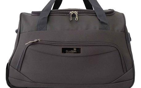 Šedá cestovní taška na kolečkách BlueStarGenes, 45l