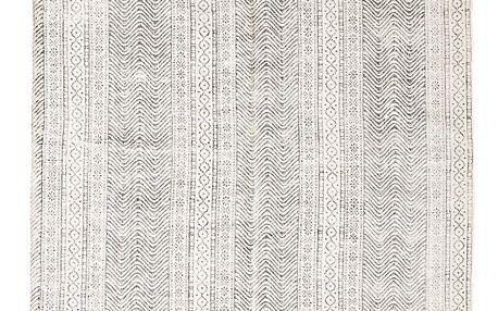 MADAM STOLTZ Ručně tkaný bavlněný koberec Orient 120x180 cm, šedá barva, bílá barva, textil Bílá