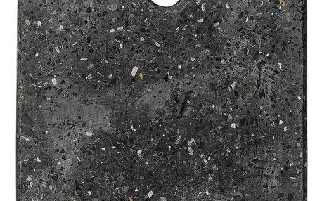 Bloomingville Dekorativní teracové prkénko Terrazzo Black, černá barva, kámen