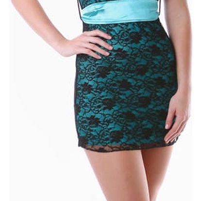 Dámské mini šaty s krajkou světle zelená