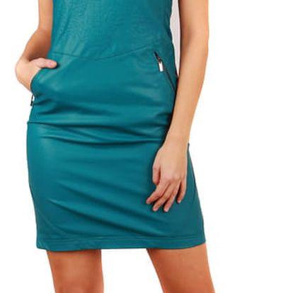 Dámské svůdné šaty umělá kůže modrozelená