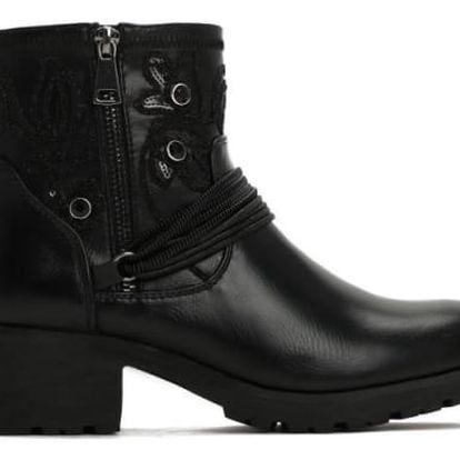 Dámské černé lesklé kotníkové boty California 2125