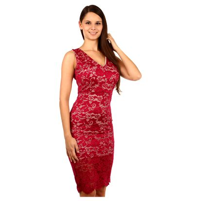 Exkluzivní šaty s krajkou vínová