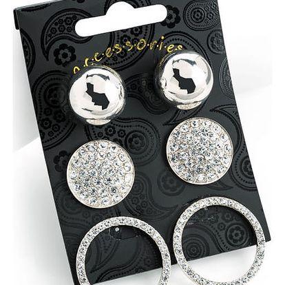 SET: Tři páry náušnic ve stříbrné barvě Carmen 30814