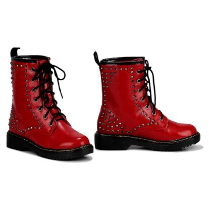 Dámské červené kotníkové boty Metal 114