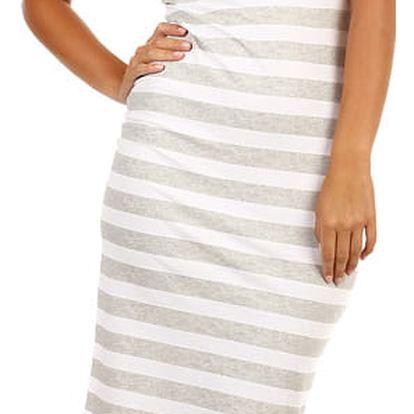 Bavlněné proužkované šaty pro volný čas šedá