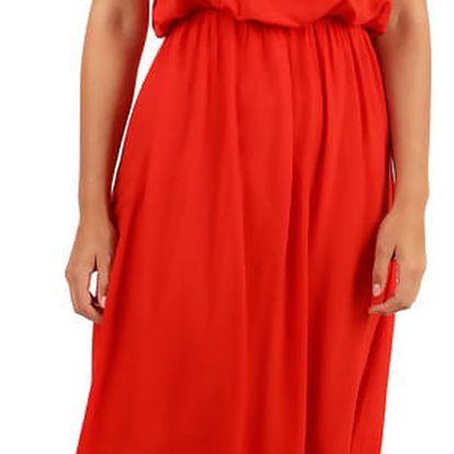 Letní jednobarevné maxi šaty červená