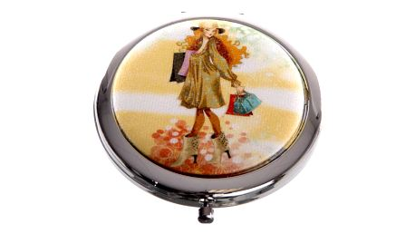 Kapesní kosmetické zrcátko Girls Shopping oranžové