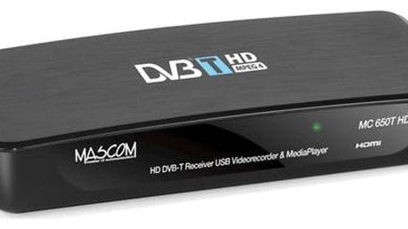 DVB-T přijímač Mascom MC650THD černý