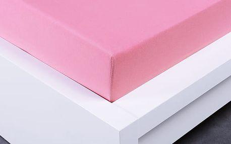 XPOSE ® Jersey prostěradlo dvoulůžko - růžová gramáž 150g/m 160x200 cm