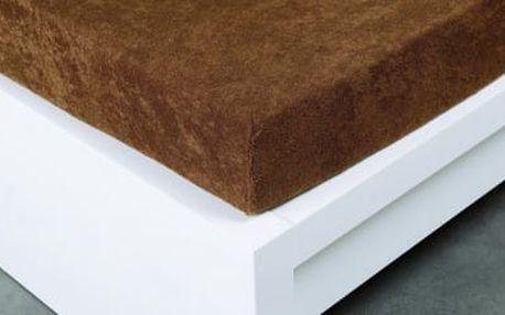 XPOSE ® Froté prostěradlo jednolůžko - hnědá 90x200 cm