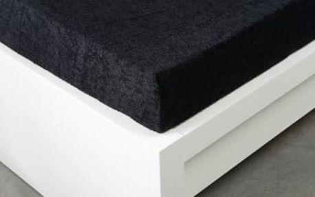 XPOSE ® Froté prostěradlo dvoulůžko - černá 180x200 cm