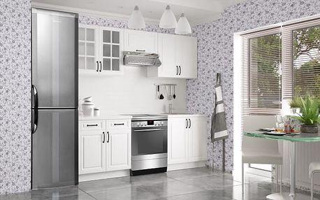 Michelle - Kuchyňský blok (bílá, bílá, černá úchytka)