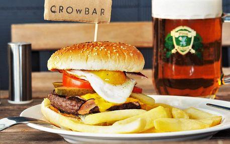 2x nabušený maxi burger s extra náplní a hranolky