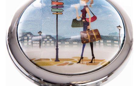 Kapesní kosmetické zrcátko Girls Traveling modré