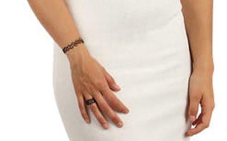 Pouzdrové šaty s průhlednými rameny bílá