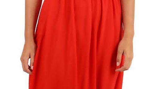 Letní jednobarevné plážové maxi šaty červená