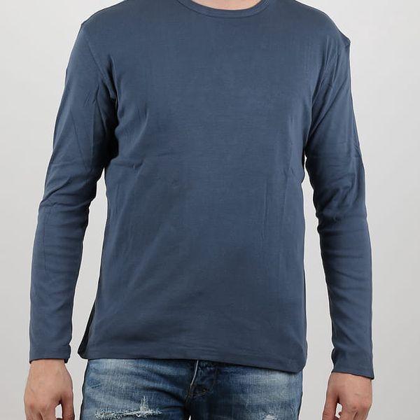 Tričko Alcott T-SHIRT MANICA LUNGA IN RIB 1X1 Modrá