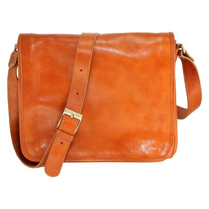 Koňakově hnědá kožená taška Chicca Borse Norma - doprava zdarma!