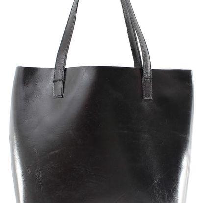 Černá kožená kabelka Chicca Borse Greta - doprava zdarma!