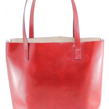 Červená kožená kabelka Chicca Borse Greta - doprava zdarma!