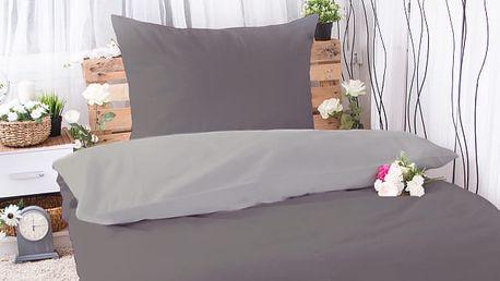 XPOSE ® Prodloužené bavlněné povlečení MICHAELA DUO - tmavě šedá/světle šedá 140x220, 70x90