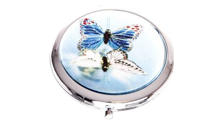 Kapesní kosmetické zrcátko Motýl modré
