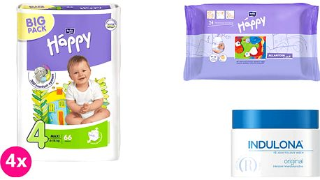 4x BELLA HAPPY Maxi 4 pleny (8 -18kg) 66 ks + Indulona Tělový krém 250 ml + Happy Wipes 24 ks