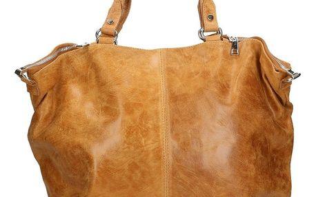 Koňakově hnědá kožená kabelka Chicca Borse Terracia - doprava zdarma!